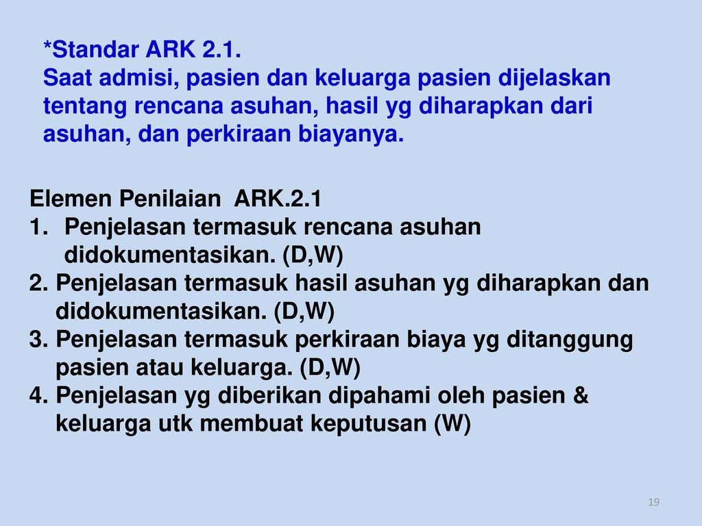 *Standar ARK 2.1.