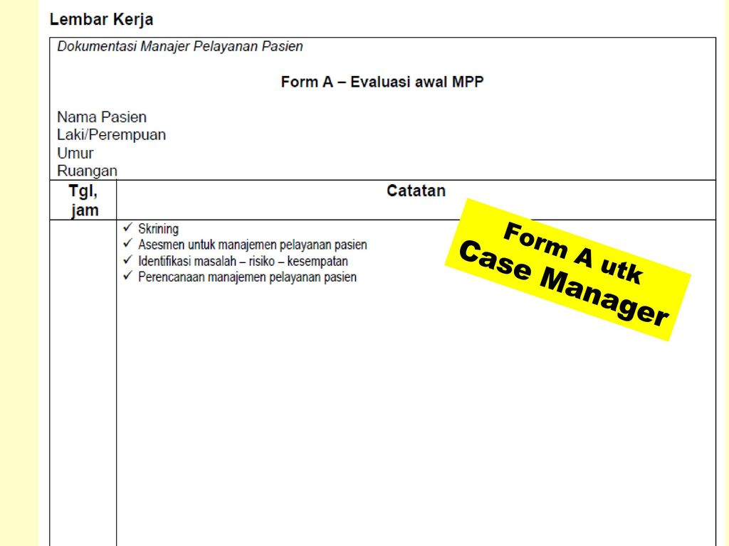 Form A utk Case Manager