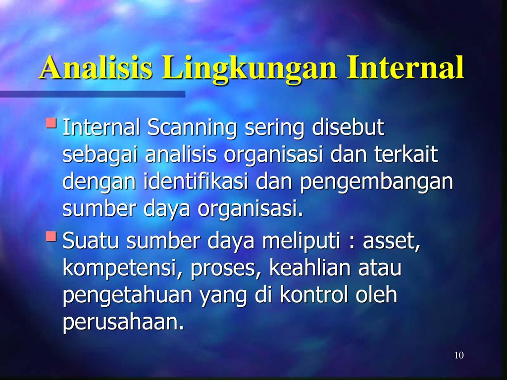 internal scanning Environmental scanning refers to possession and utilization of information about occasions, patterns, trends, and relationships within an organizations internal and external environment.