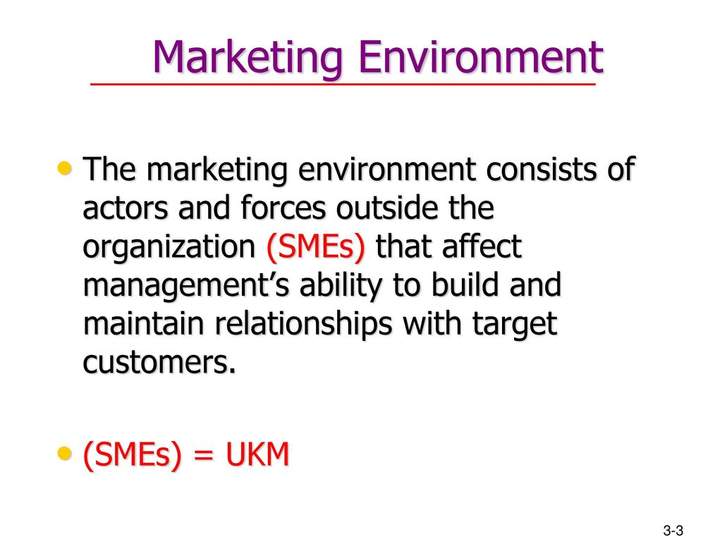 the marketing environment consists of the All outside factors that may affect an organization make up the external environment the external environment is divided into two parts: directly interactive: this environment has an immediate and firsthand impact upon the organization a new competitor entering the market is an example indirectly.