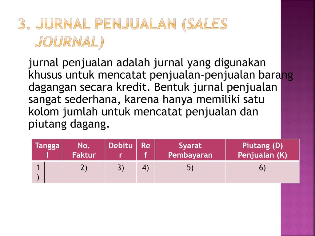 3. Jurnal penjualan (sales journal)