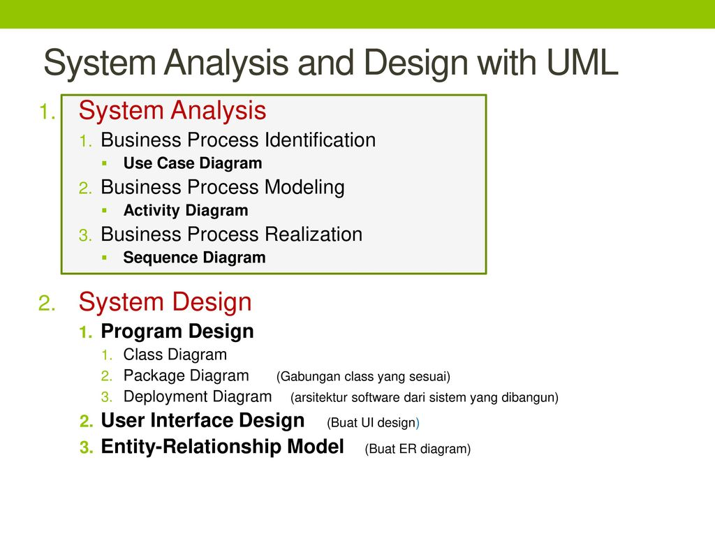 system analysis and design object