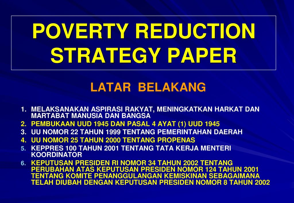 anti poverty strategy paper