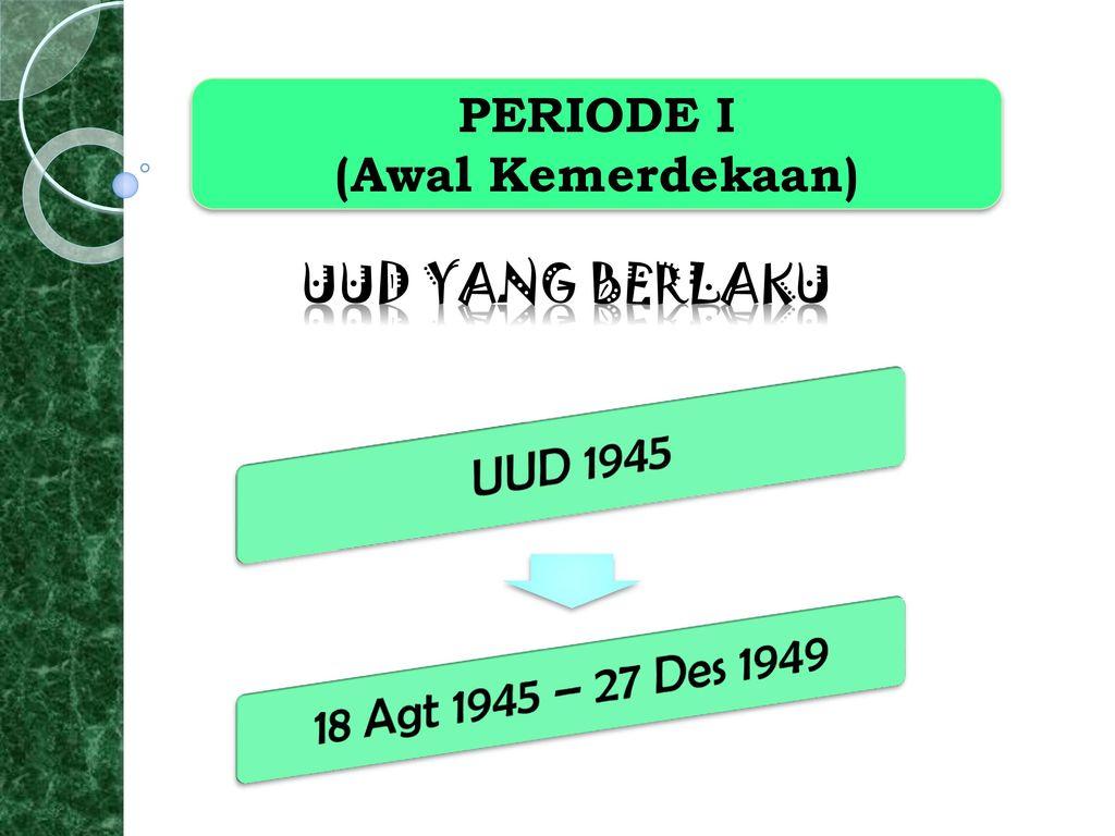 18 Agt 1945 – 27 Des 1949 UUD 1945 PERIODE I (Awal Kemerdekaan)