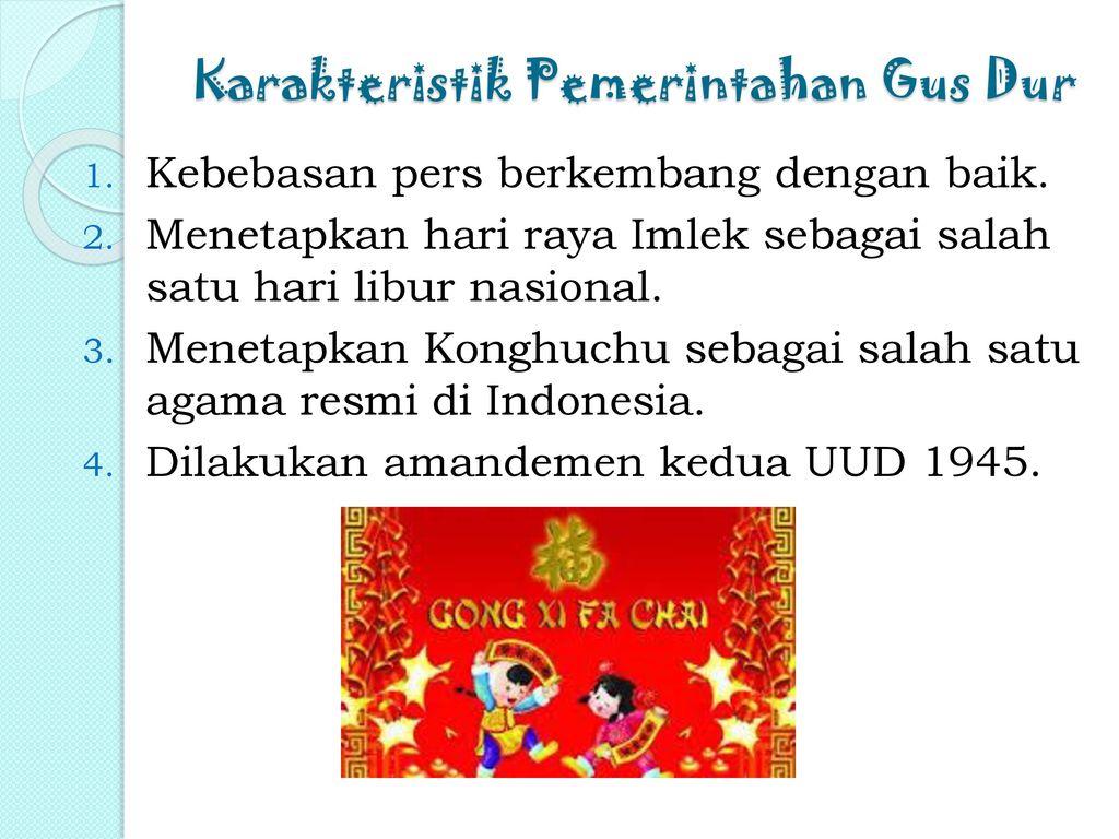 Karakteristik Pemerintahan Gus Dur