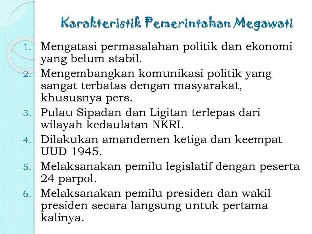 Karakteristik Pemerintahan Megawati