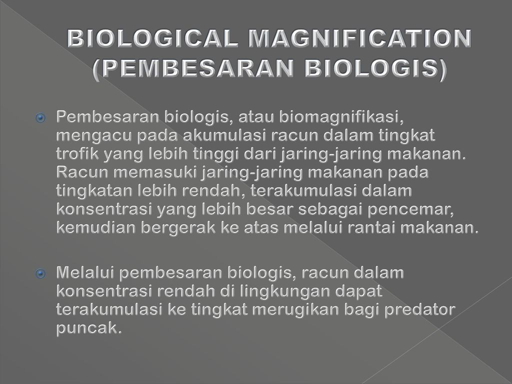 biological magnification Biological magnification (biomagnification) – explains how a substance can exist in different concentrations in different organisms within an ecosystem higher.