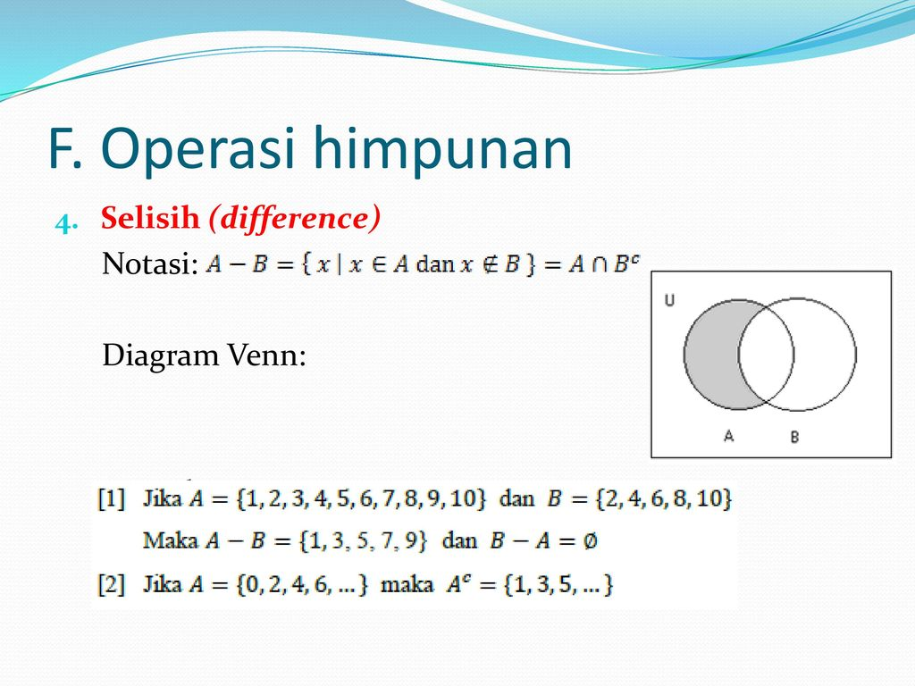 Teori himpunan sugiyono ppt download 15 f operasi himpunan selisih difference notasi diagram venn contoh ccuart Image collections