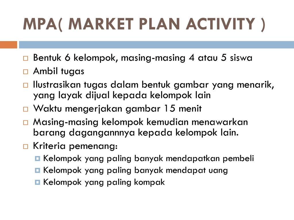 MPA( MARKET PLAN ACTIVITY )