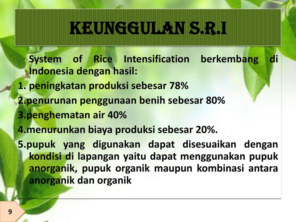 KEUNGGULAN S.R.I