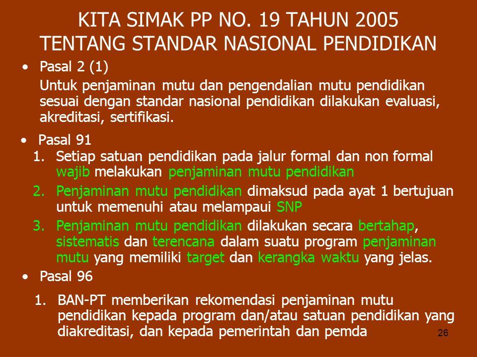 KITA SIMAK PP NO. 19 TAHUN 2005 TENTANG STANDAR NASIONAL PENDIDIKAN