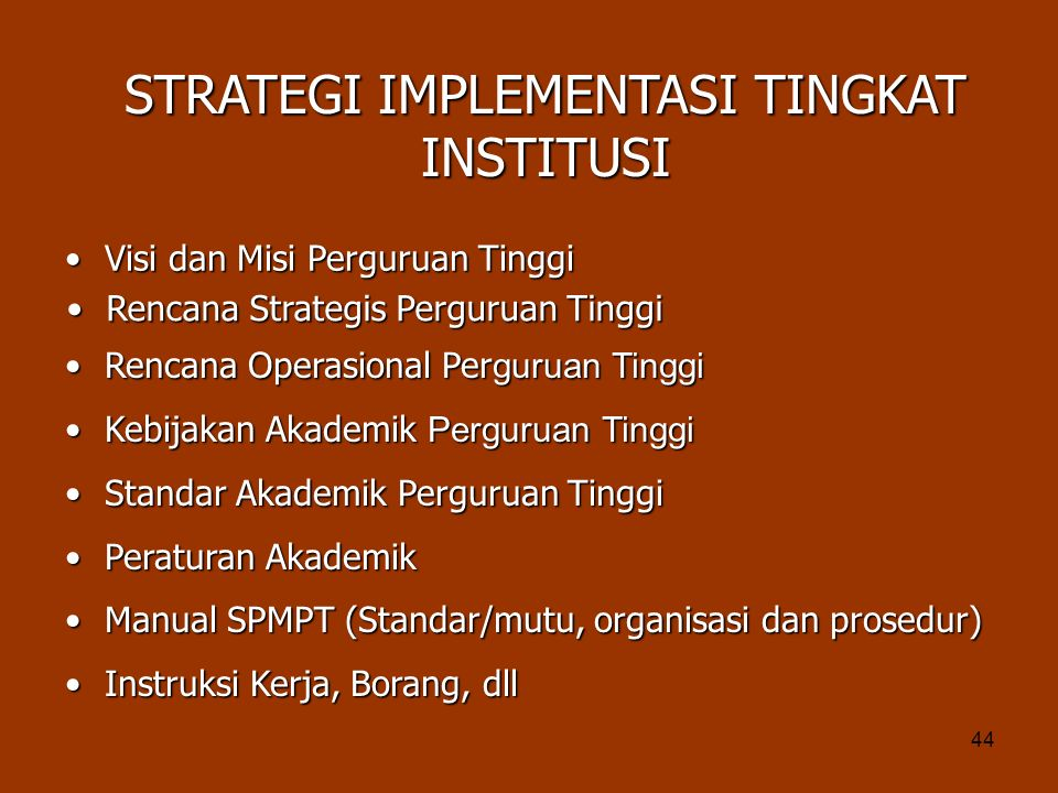 STRATEGI IMPLEMENTASI TINGKAT INSTITUSI