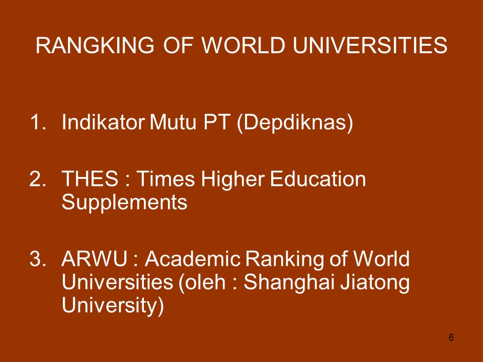 RANGKING OF WORLD UNIVERSITIES
