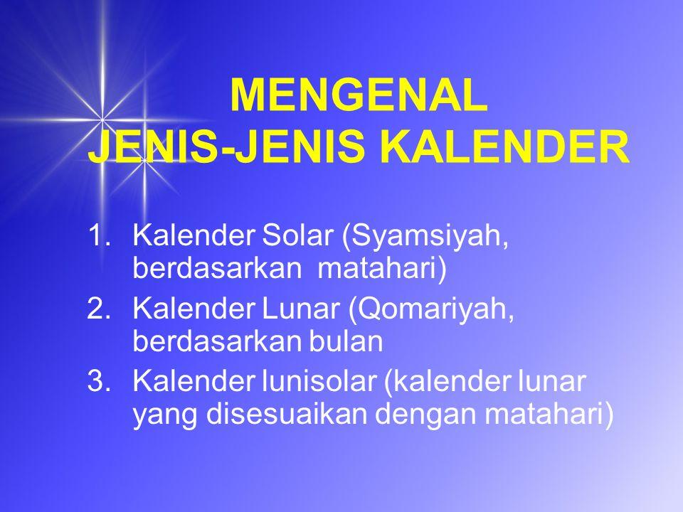 MENGENAL JENIS-JENIS KALENDER