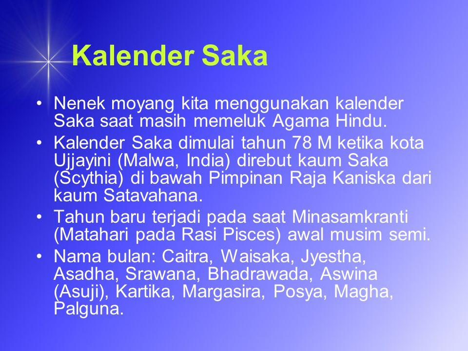 Kalender Saka Nenek moyang kita menggunakan kalender Saka saat masih memeluk Agama Hindu.