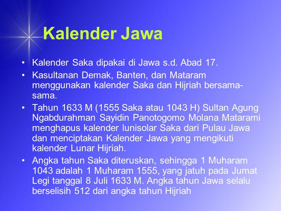 Kalender Jawa Kalender Saka dipakai di Jawa s.d. Abad 17.