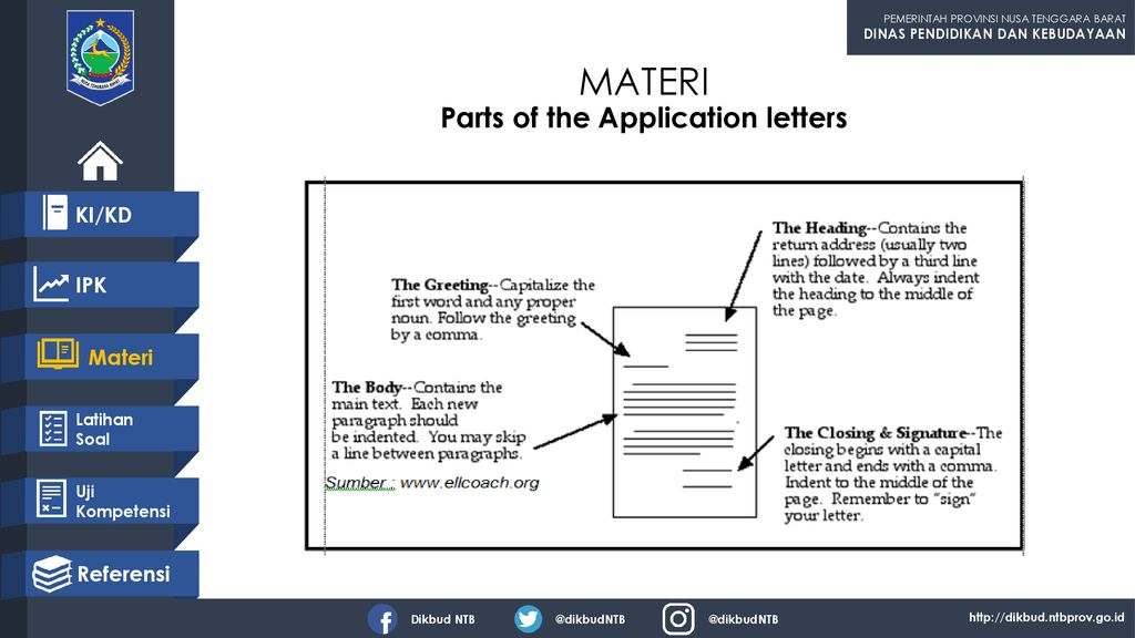 MATERI Parts of the Application letters