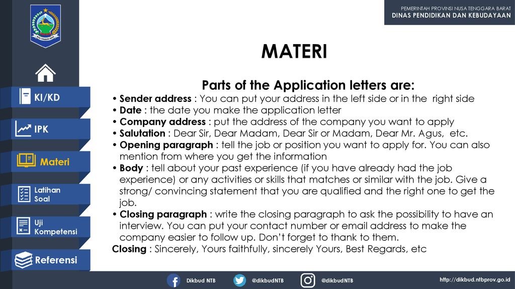 Parts of the Application letters are: