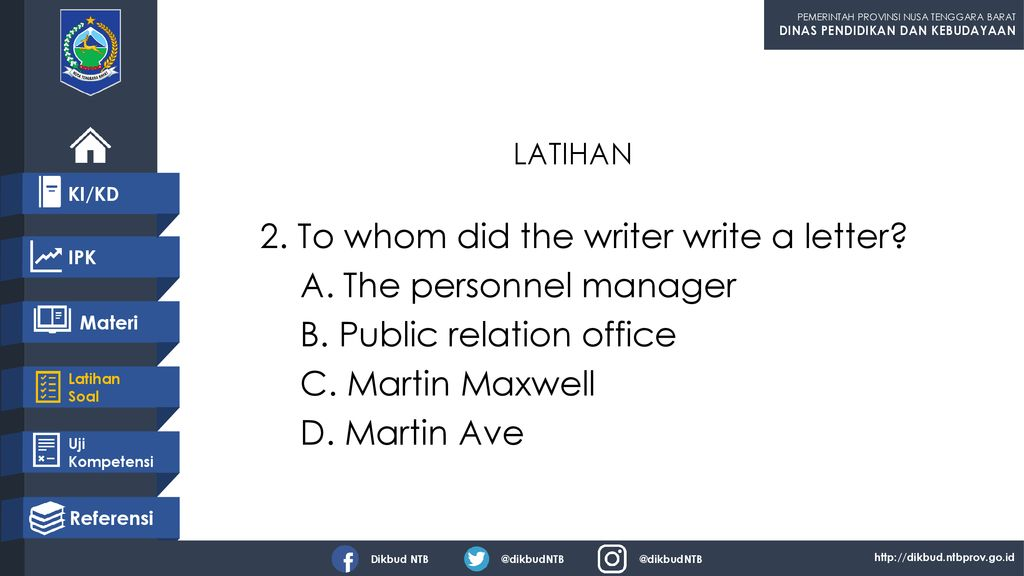 2. To whom did the writer write a letter The personnel manager