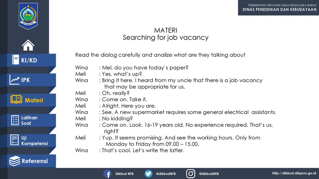 MATERI Searching for job vacancy