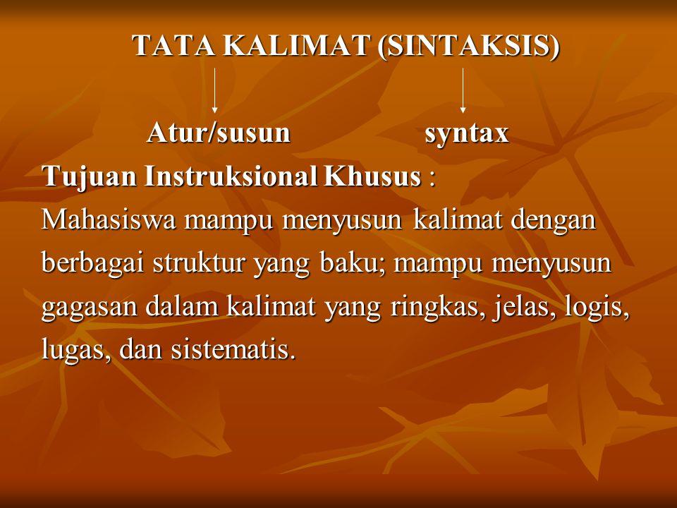 TATA KALIMAT (SINTAKSIS)