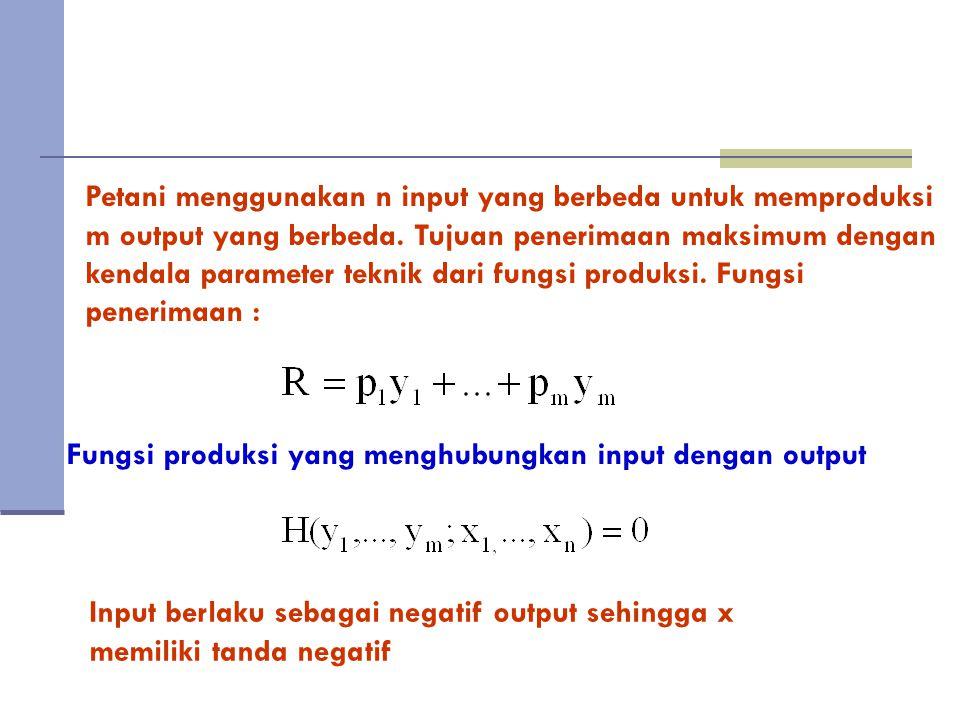 Petani menggunakan n input yang berbeda untuk memproduksi m output yang berbeda. Tujuan penerimaan maksimum dengan kendala parameter teknik dari fungsi produksi. Fungsi penerimaan :