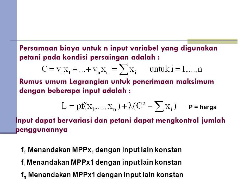 Persamaan biaya untuk n input variabel yang digunakan petani pada kondisi persaingan adalah :