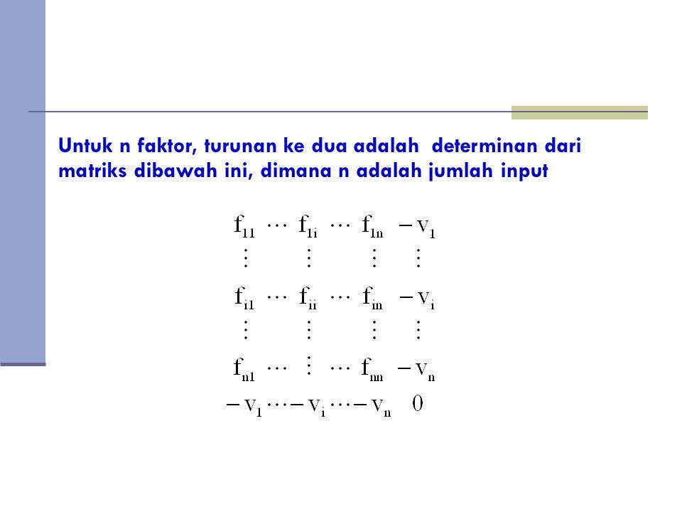 Untuk n faktor, turunan ke dua adalah determinan dari matriks dibawah ini, dimana n adalah jumlah input