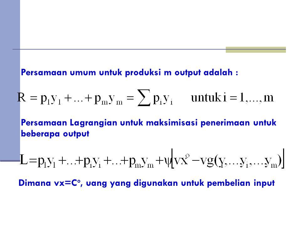 Persamaan umum untuk produksi m output adalah :