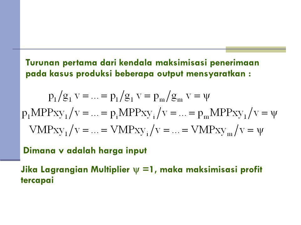 Turunan pertama dari kendala maksimisasi penerimaan pada kasus produksi beberapa output mensyaratkan :