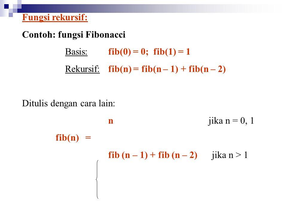Fungsi rekursif: Contoh: fungsi Fibonacci. Basis: fib(0) = 0; fib(1) = 1. Rekursif: fib(n) = fib(n – 1) + fib(n – 2)