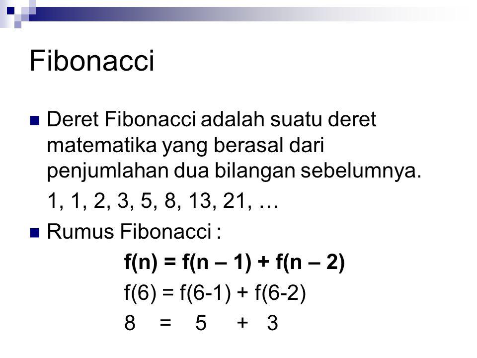 Fibonacci Deret Fibonacci adalah suatu deret matematika yang berasal dari penjumlahan dua bilangan sebelumnya.