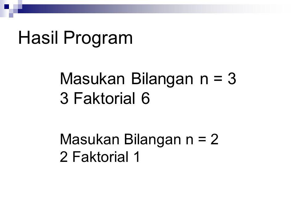 Hasil Program Masukan Bilangan n = 3 3 Faktorial 6