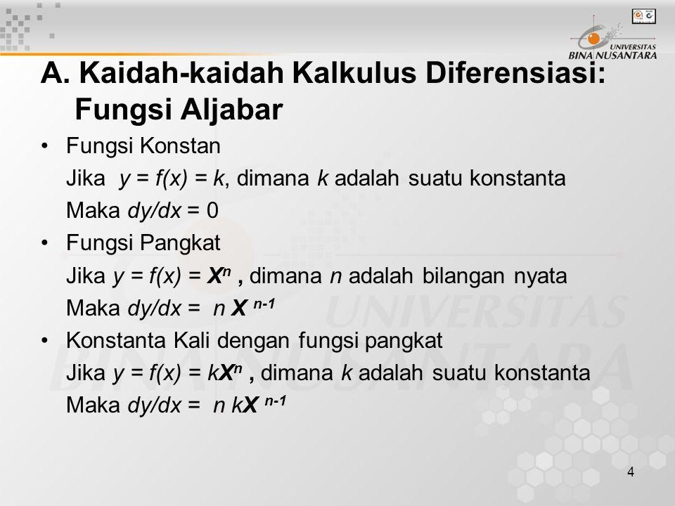 A. Kaidah-kaidah Kalkulus Diferensiasi: Fungsi Aljabar