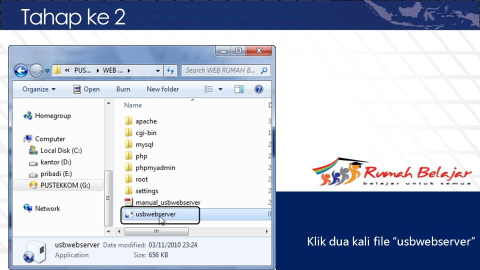 Tahap ke 2 Klik dua kali file usbwebserver