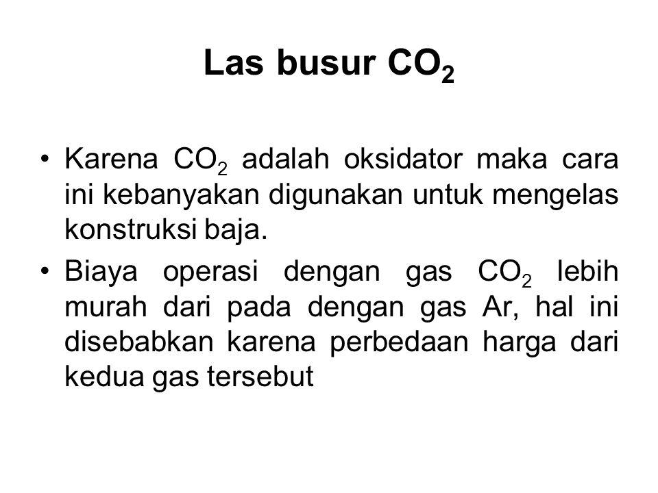 Las busur CO2 Karena CO2 adalah oksidator maka cara ini kebanyakan digunakan untuk mengelas konstruksi baja.