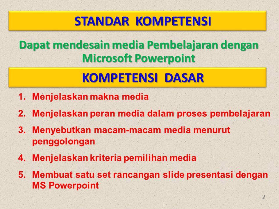 Dapat mendesain media Pembelajaran dengan Microsoft Powerpoint