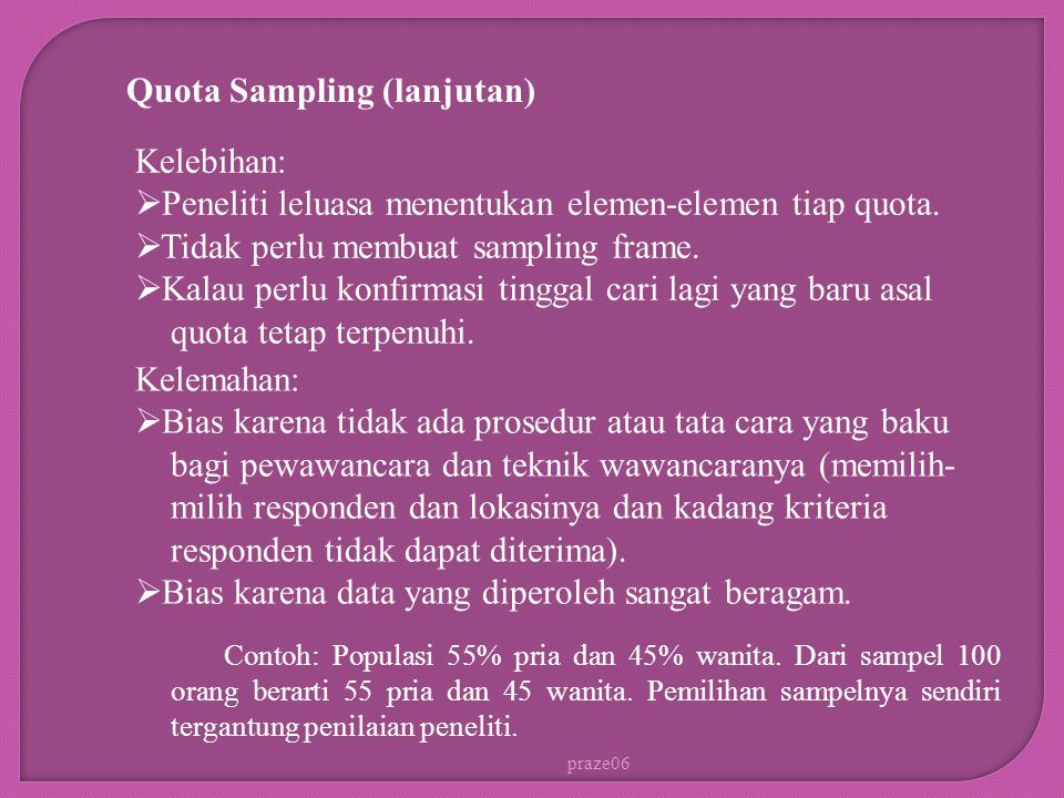 Quota Sampling (lanjutan)