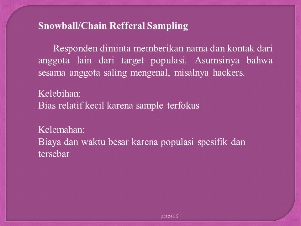 Snowball/Chain Refferal Sampling