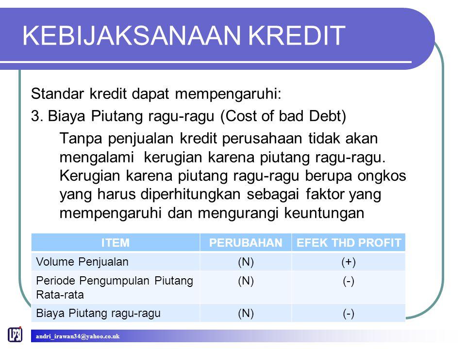 KEBIJAKSANAAN KREDIT Standar kredit dapat mempengaruhi: