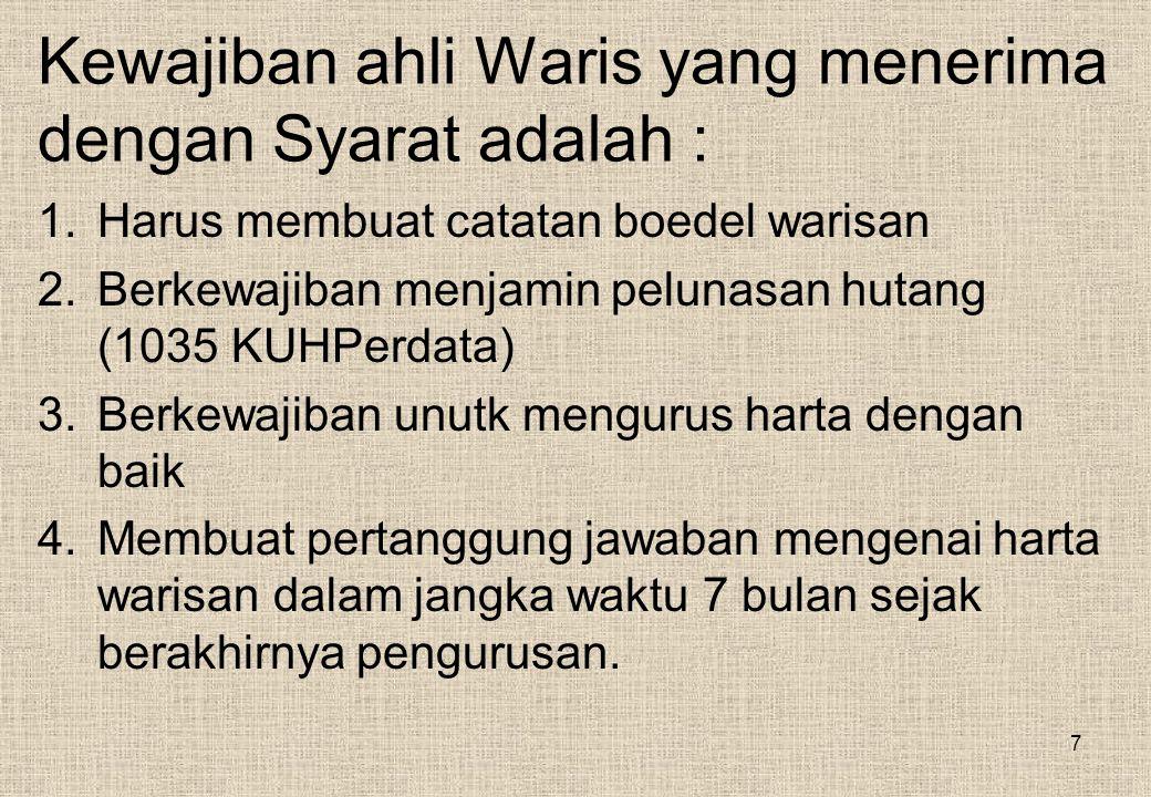 Kewajiban ahli Waris yang menerima dengan Syarat adalah :
