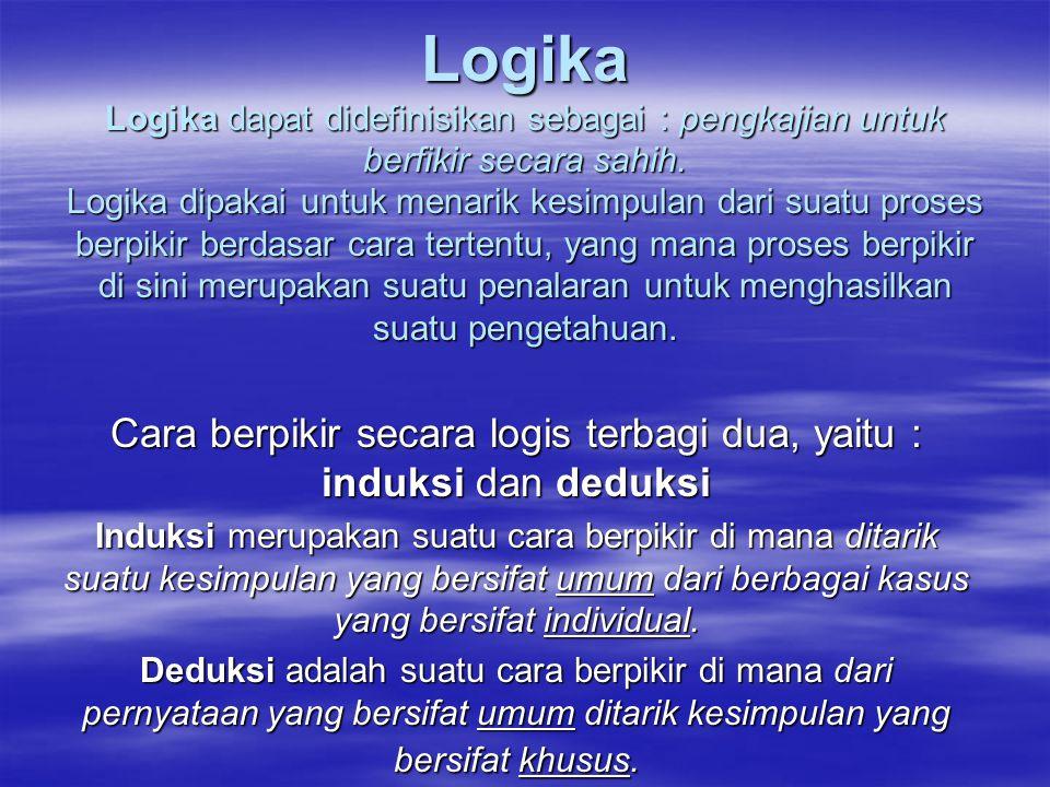 Cara berpikir secara logis terbagi dua, yaitu : induksi dan deduksi
