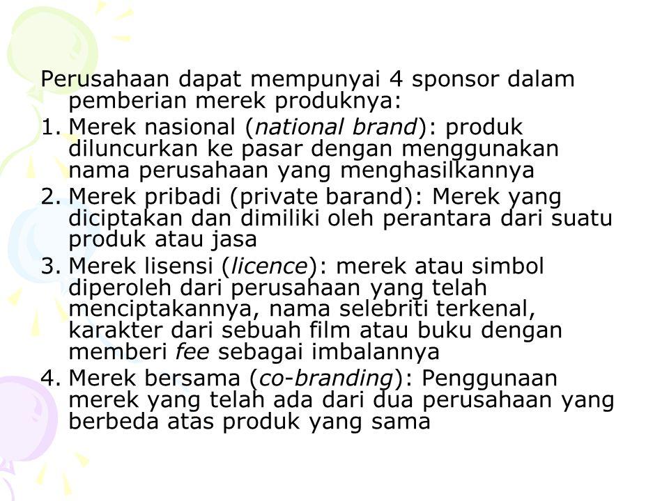 Perusahaan dapat mempunyai 4 sponsor dalam pemberian merek produknya: