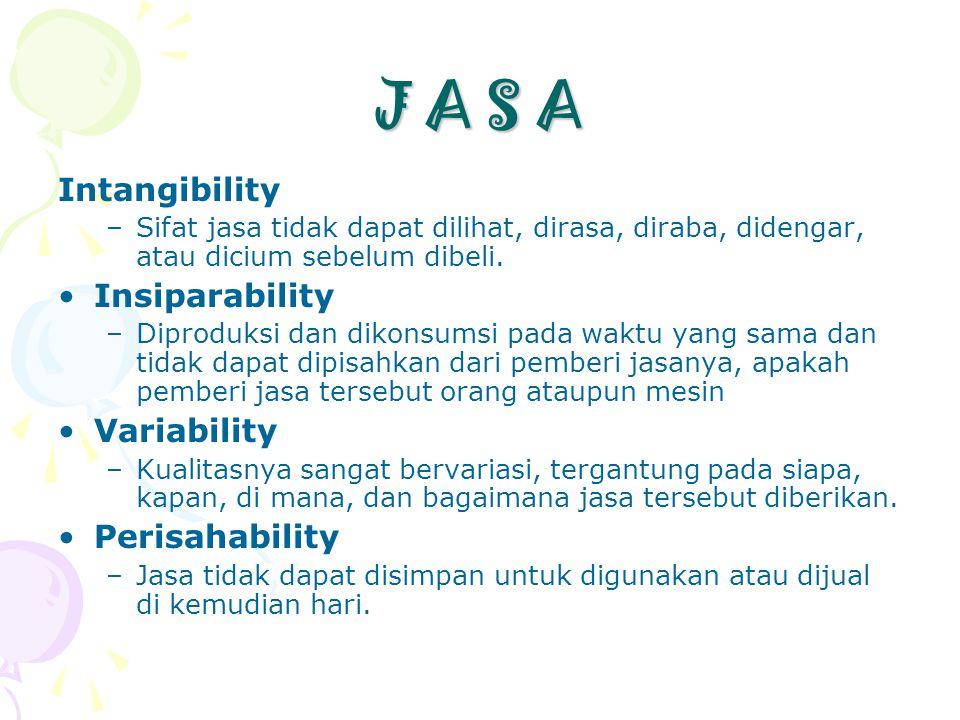 J A S A Intangibility Insiparability Variability Perisahability