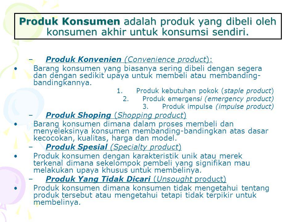 Produk Konsumen adalah produk yang dibeli oleh konsumen akhir untuk konsumsi sendiri.