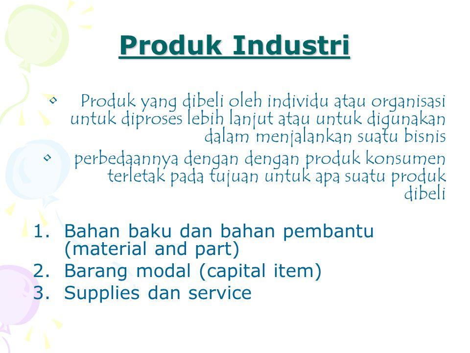 Produk Industri Produk yang dibeli oleh individu atau organisasi untuk diproses lebih lanjut atau untuk digunakan dalam menjalankan suatu bisnis.
