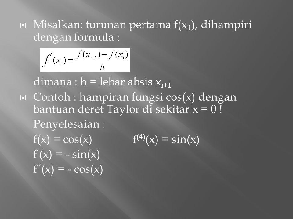 Misalkan: turunan pertama f(x1), dihampiri dengan formula :