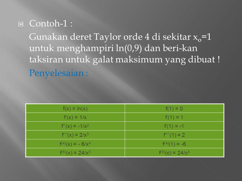 Contoh-1 : Gunakan deret Taylor orde 4 di sekitar xo=1 untuk menghampiri ln(0,9) dan beri-kan taksiran untuk galat maksimum yang dibuat !