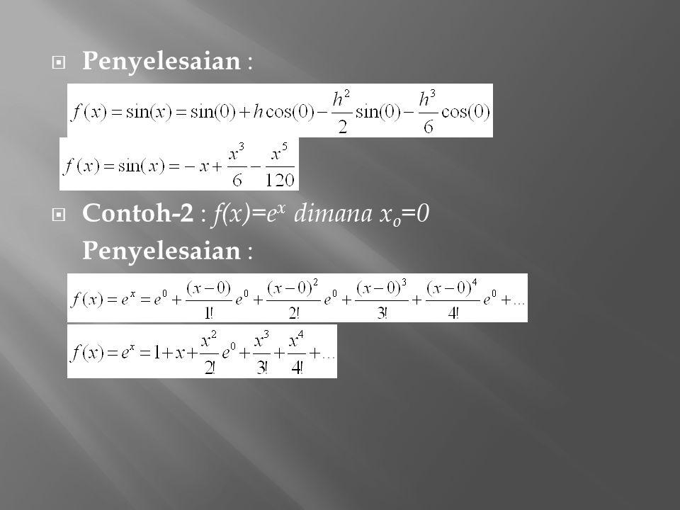 Penyelesaian : Contoh-2 : f(x)=ex dimana xo=0