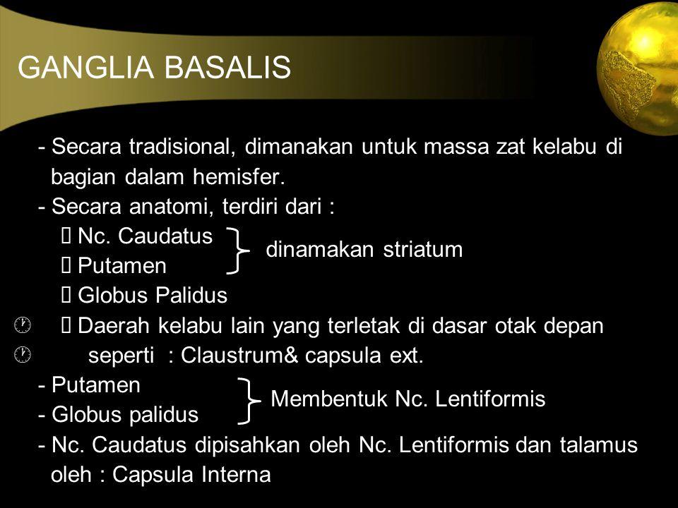 GANGLIA BASALIS - Secara tradisional, dimanakan untuk massa zat kelabu di. bagian dalam hemisfer. - Secara anatomi, terdiri dari :